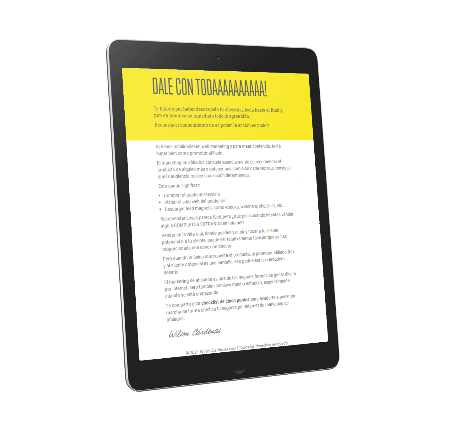 ebook marketing de afiliados tablet